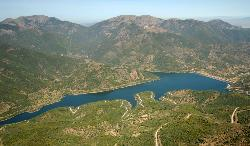 Aerial view of the lake along Rio Leni